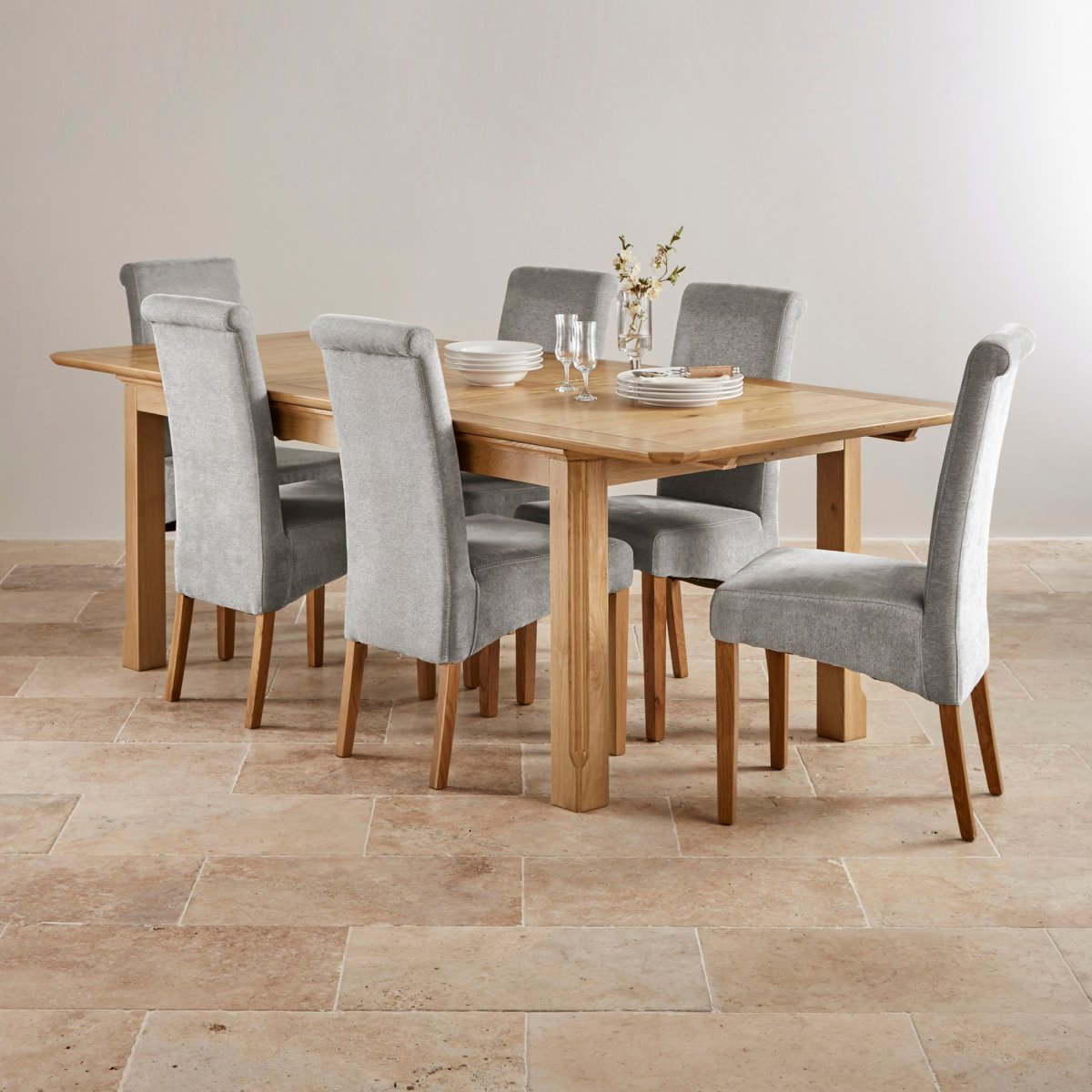 Edinburgh Extending Dining Set In Oak: Dining Table + 6 Chairs