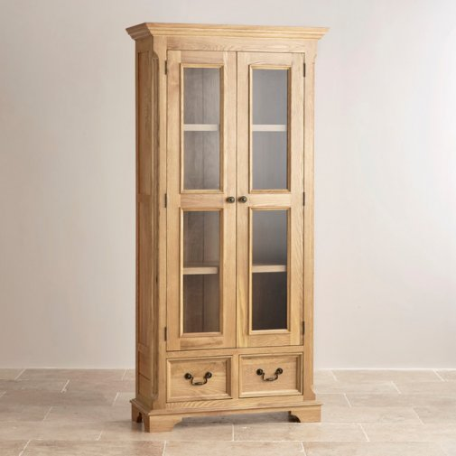 Edinburgh Natural Solid Oak Display Cabinet