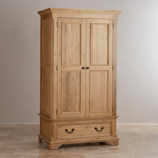 Edinburgh Natural Solid Oak Double Wardrobe
