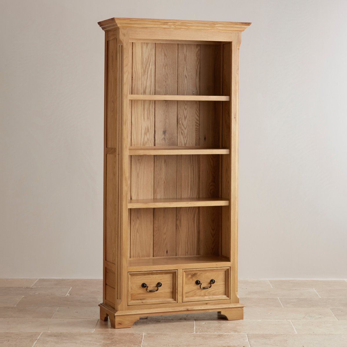 edinburgh tall bookcase in natural solid oak oak