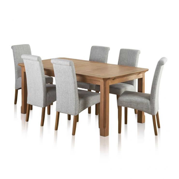 Edinburgh Solid Oak Dining Set - 6ft Extending Table + 6 Grey Chairs  sc 1 st  Oak Furniture Land : kitchen table with 6 chairs - hauntedcathouse.org