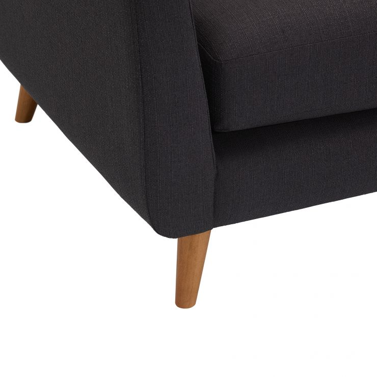 Evie Left Hand Corner Sofa In Charcoal Fabric Oak