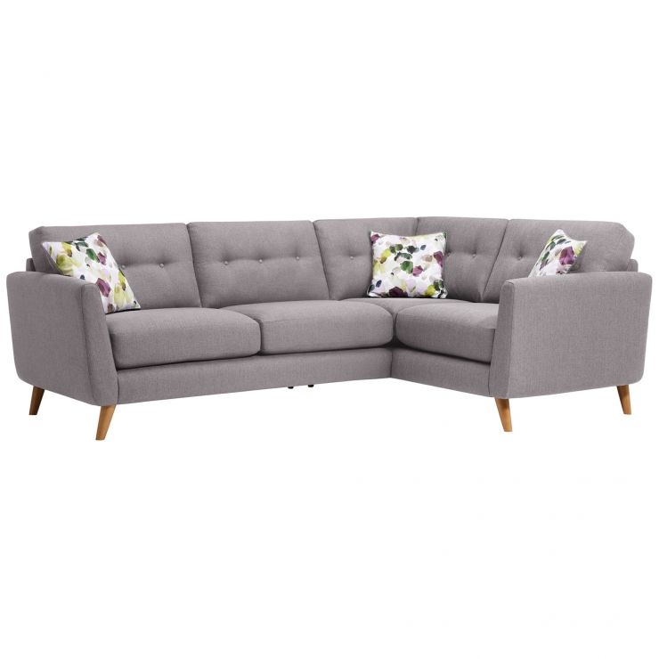 online store 1309a 0144f Evie Left Hand Corner Sofa in Silver Fabric
