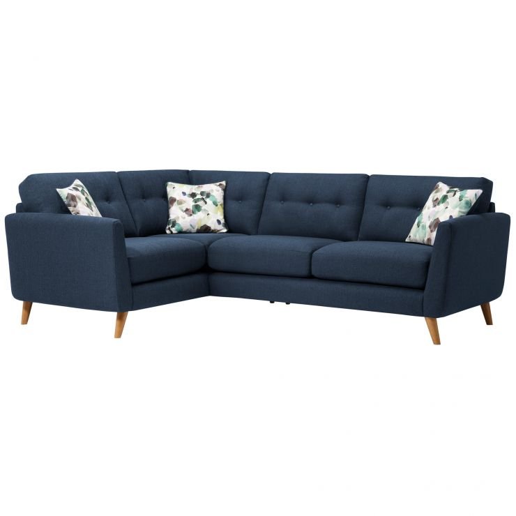 Evie Right Hand Corner Sofa in Blue Fabric