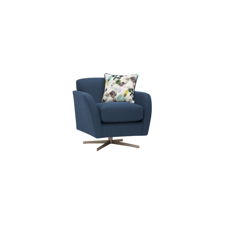 Peachy Evie Swivel Chair In Plain Blue Fabric Unemploymentrelief Wooden Chair Designs For Living Room Unemploymentrelieforg