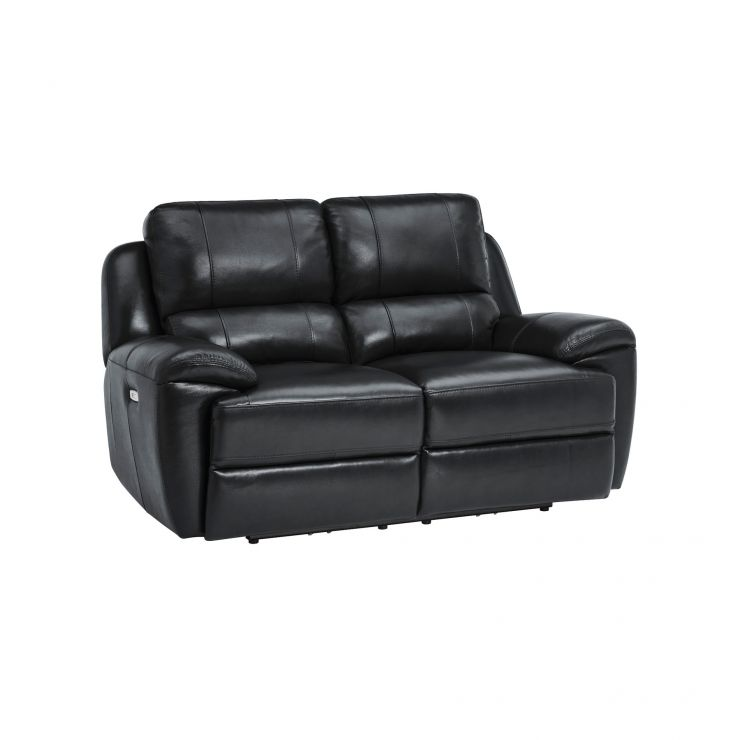 Finley 2 Seater Sofa with 2 Electric Recliners & Headrest - Black Leather