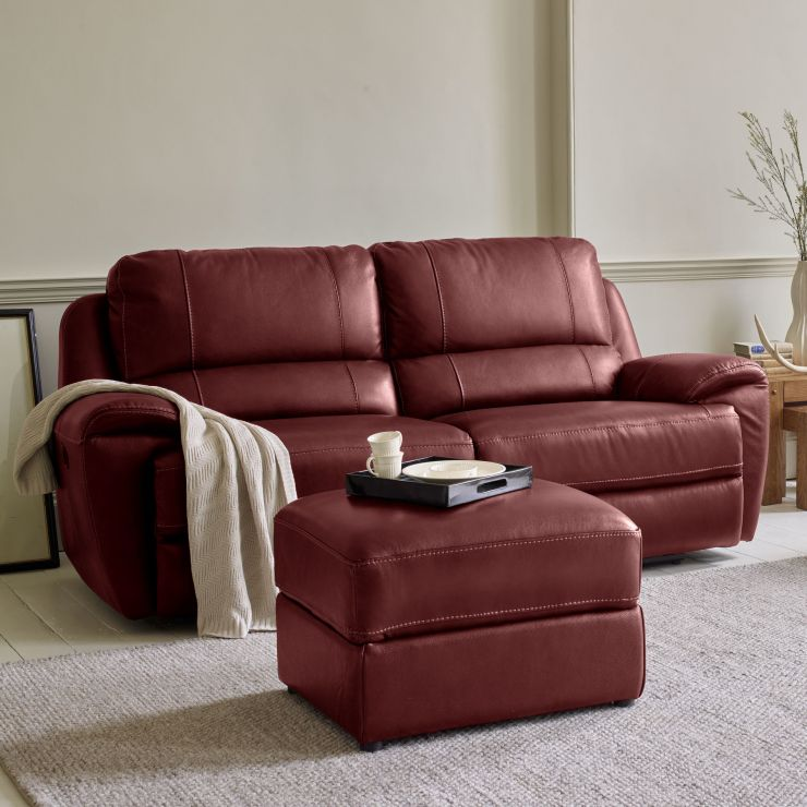 Finley 3 Seater Sofa 2 Electric Recliners Burgundy Leather