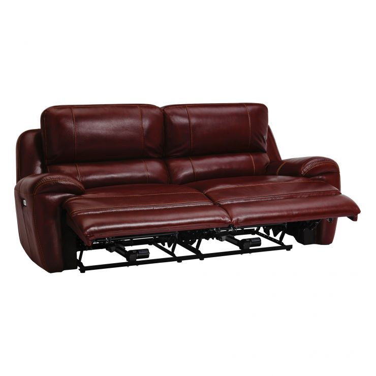 Finley 3 Seater Electric Recliner Sofa - Burgundy Leather