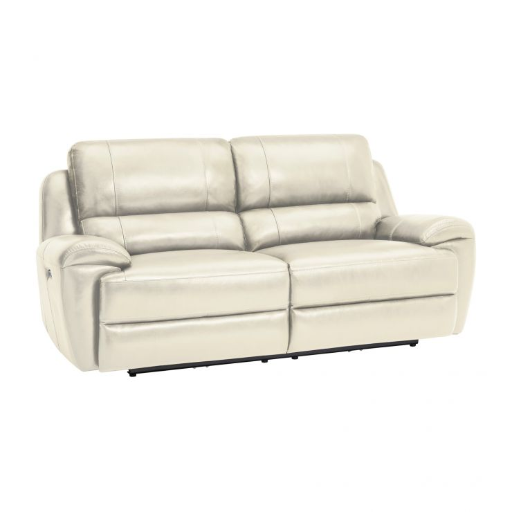 Finley 3 Seater Electric Recliner Sofa - Cream Leather