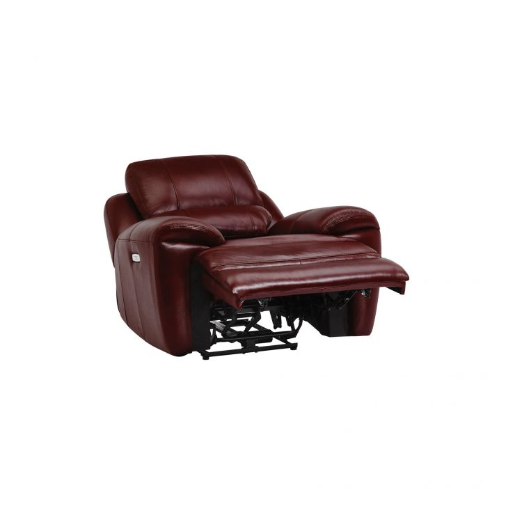 Finley Electric Recliner Armchair Burgundy Leather