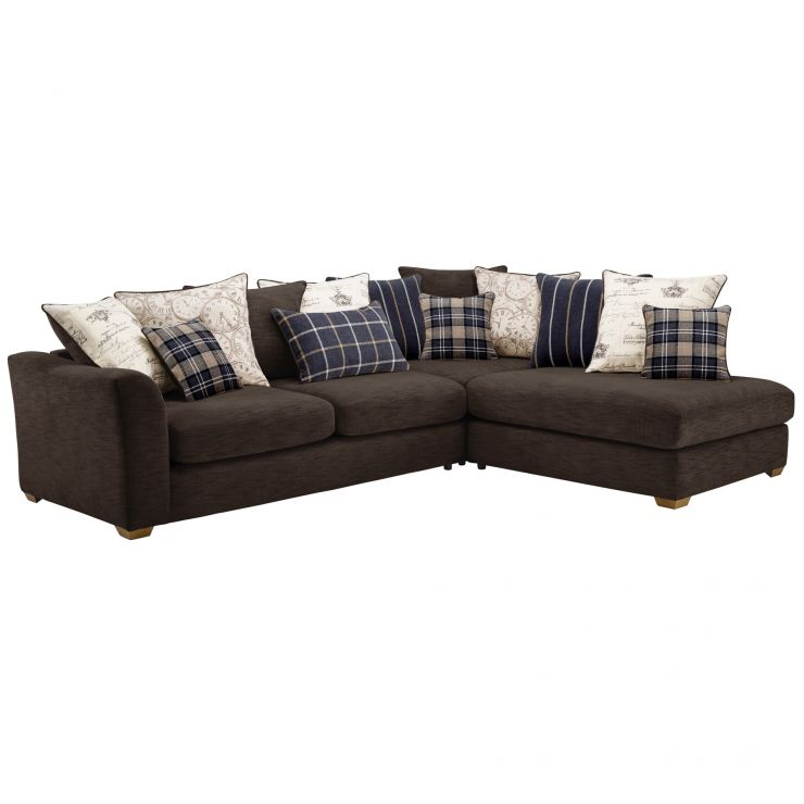 Grey Fabric Left Hand Corner Sofa: Florence Left Hand Corner Sofa With Pillow Back In Charcoal