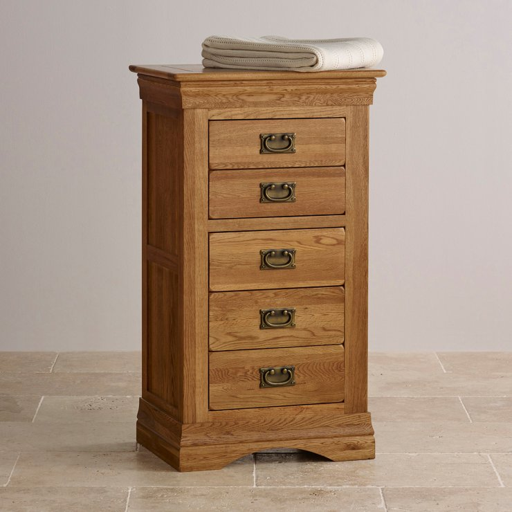 French Farmhouse Rustic Solid Oak 5 Drawer Tallboy