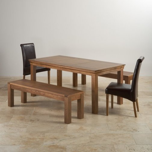 "French Farmhouse Rustic Oak Dining Set - 6ft Table with 2 x 4ft 11"" Benches and 2 x Scroll Back Brown Leather Chairs"