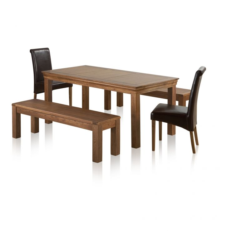 French Farmhouse Ft Dining Table Benches Leather Chairs - 6ft dining table and chairs