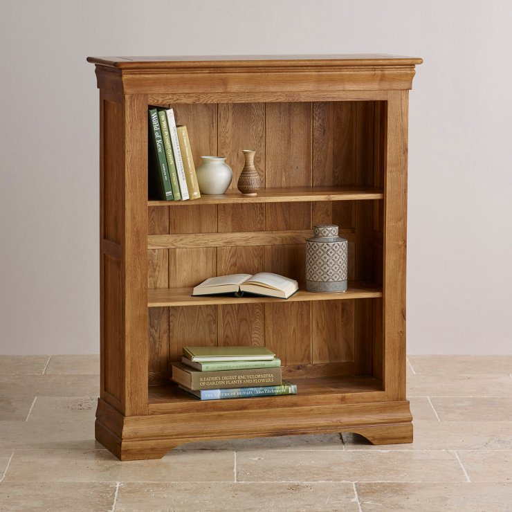 French Farmhouse Rustic Solid Oak Small Bookcase