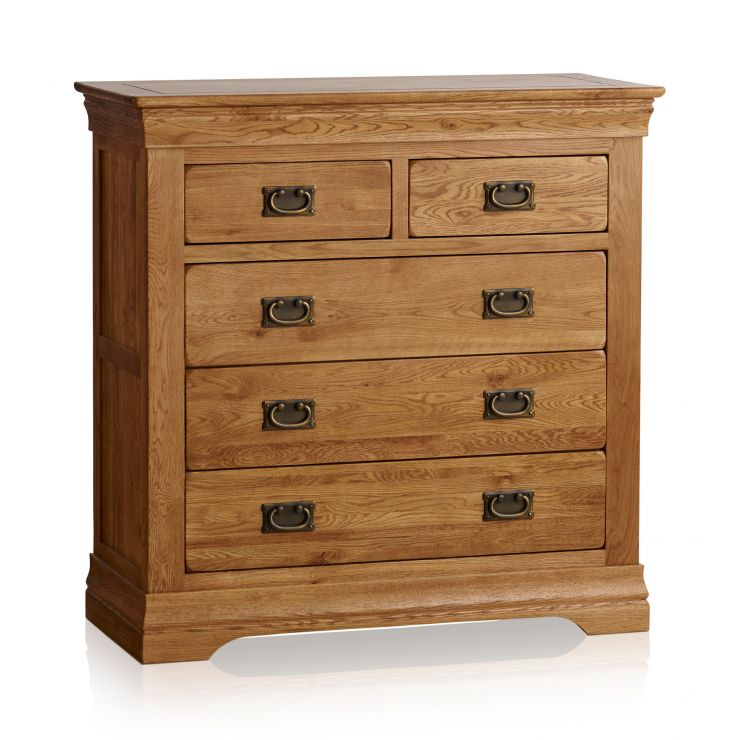 best sneakers 2055f a6846 French Farmhouse Rustic Solid Oak 3+2 Drawer Chest
