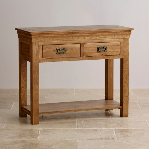 French Farmhouse Rustic Solid Oak Console Table