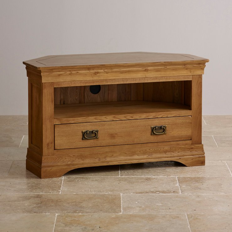 French farmhouse corner tv unit solid oak oak for Furniture land
