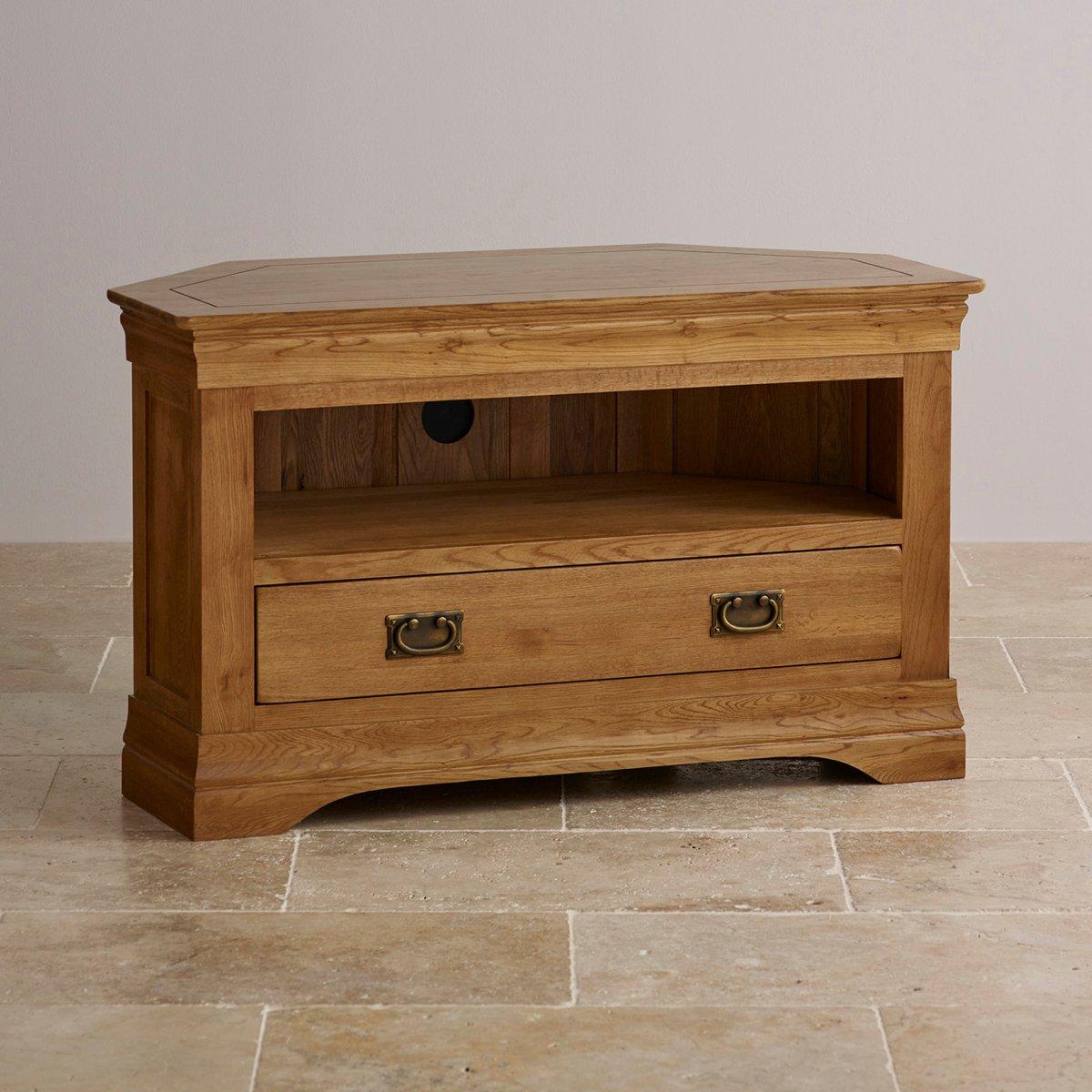 French farmhouse corner tv unit solid oak oak for Farmhouse rustic oak