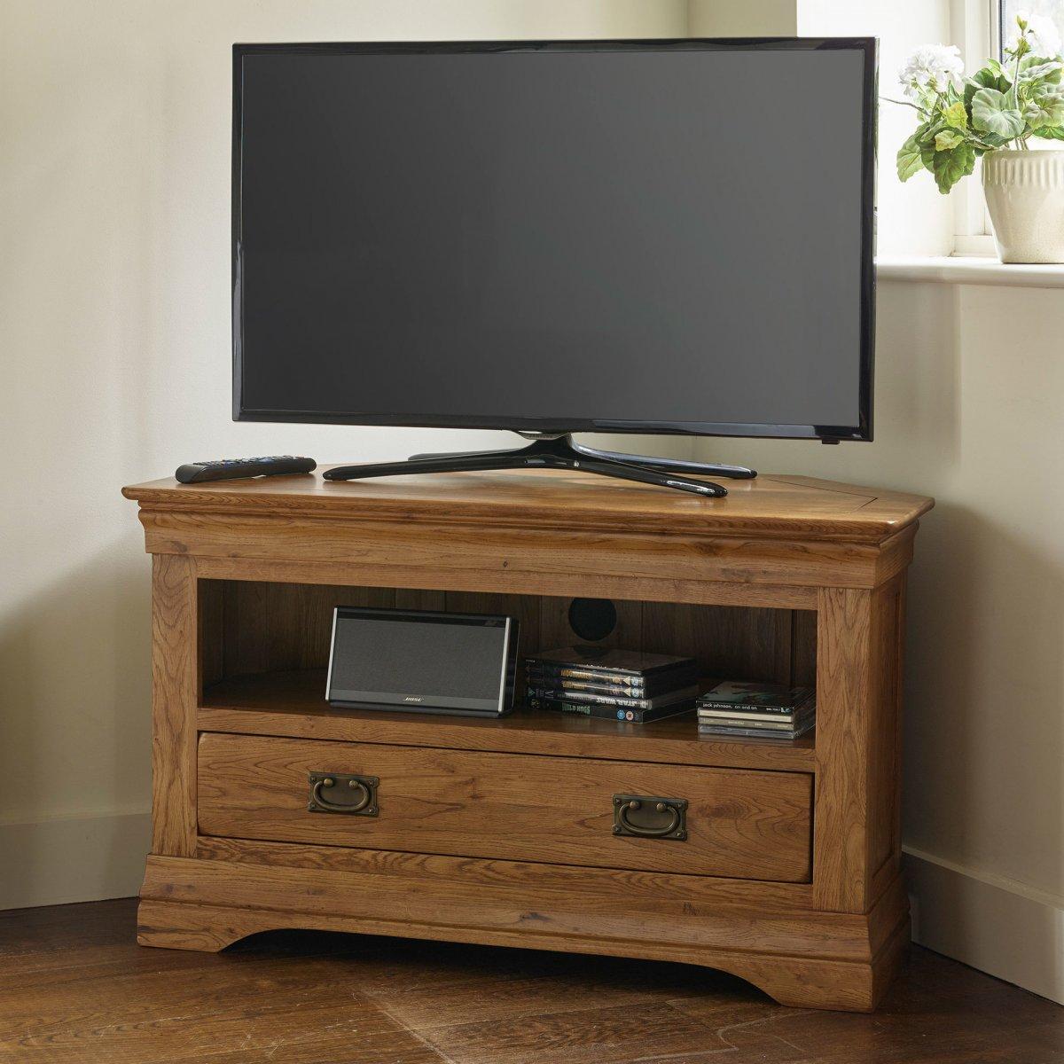French Farmhouse Corner Tv Unit Solid Oak Oak
