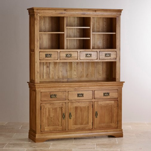 French Farmhouse Rustic Solid Oak Large Dresser