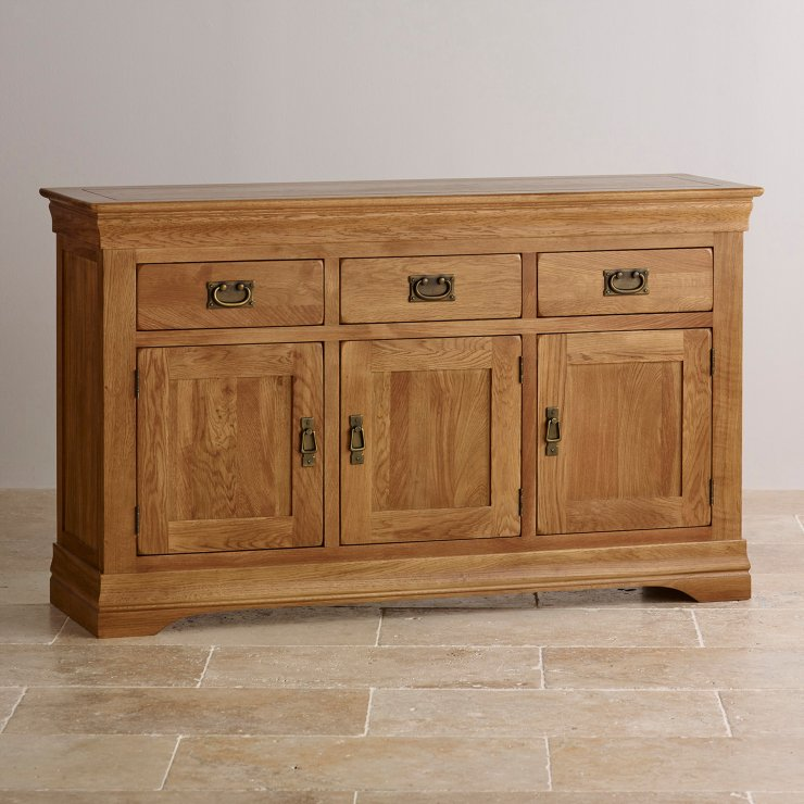 French Farmhouse Large Sideboard In Rustic Solid Oak