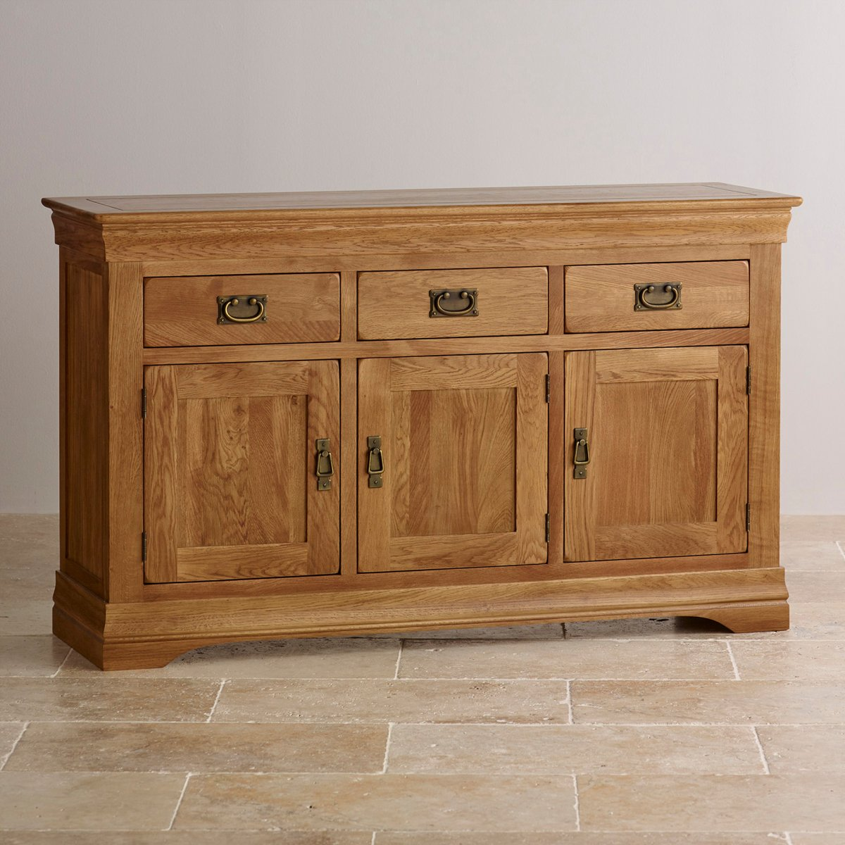 French farmhouse large sideboard in rustic solid oak for Solid oak furniture