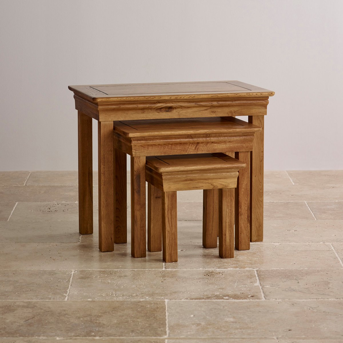 French farmhouse nest of tables solid oak oak for Solid oak furniture