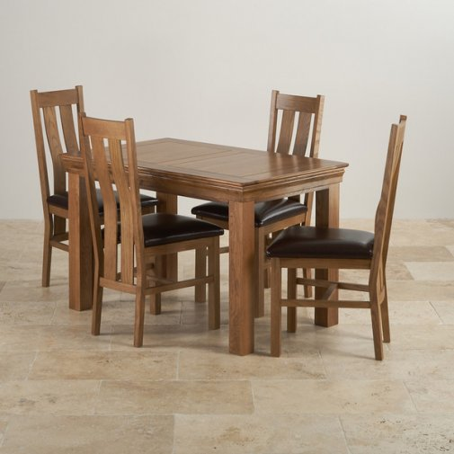 Custom Delivery Autumn Monday French Farmhouse Rustic Solid Oak Dining Set    4ft Table With 4 Arched Back And Brown