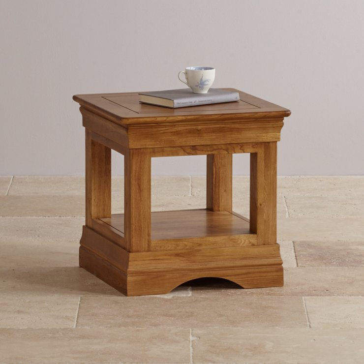 French Farmhouse Side Table in Rustic Oak