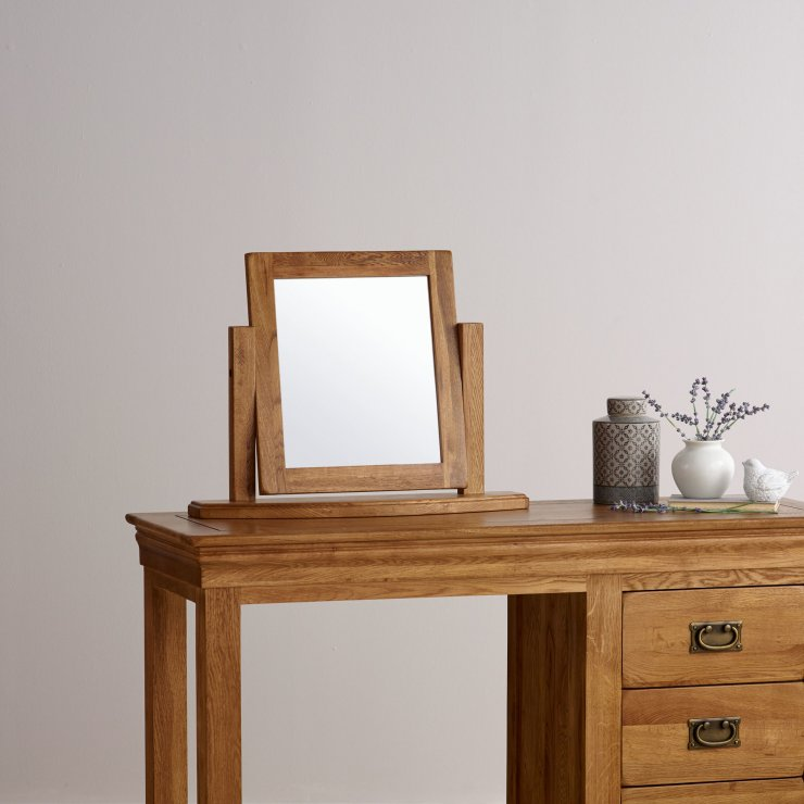 French Farmhouse Rustic Solid Oak Dressing Table Mirror