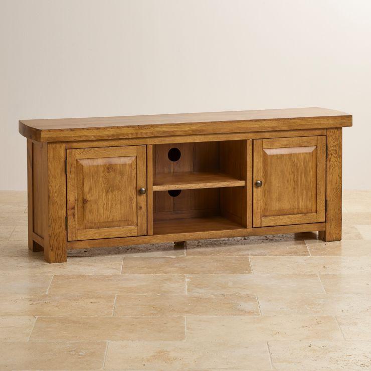 hercules large tv unit in rustic solid oak oak furniture. Black Bedroom Furniture Sets. Home Design Ideas