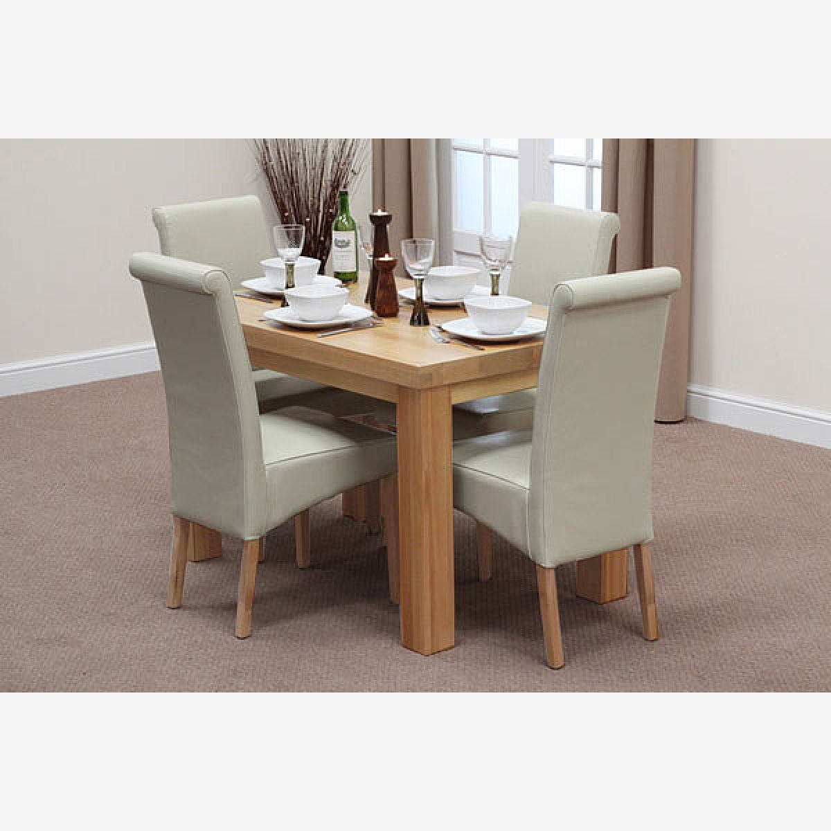 Fresco 4ft solid oak dining table 4 cream leather scroll for Oak dining room chairs