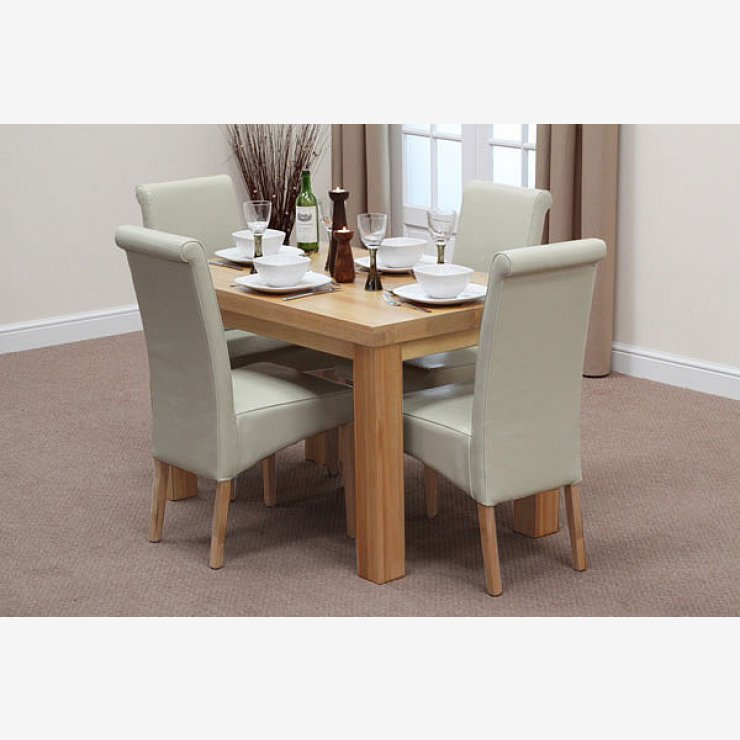 Fresco 4ft solid oak dining table 4 cream leather scroll for 4ft sofa table