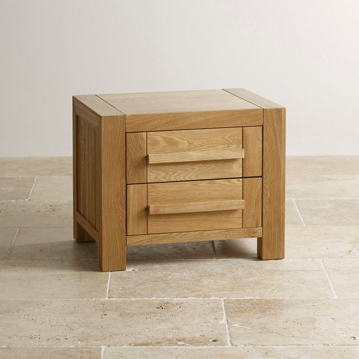 Fresco Natural Solid Oak 2 Drawer Bedside Table