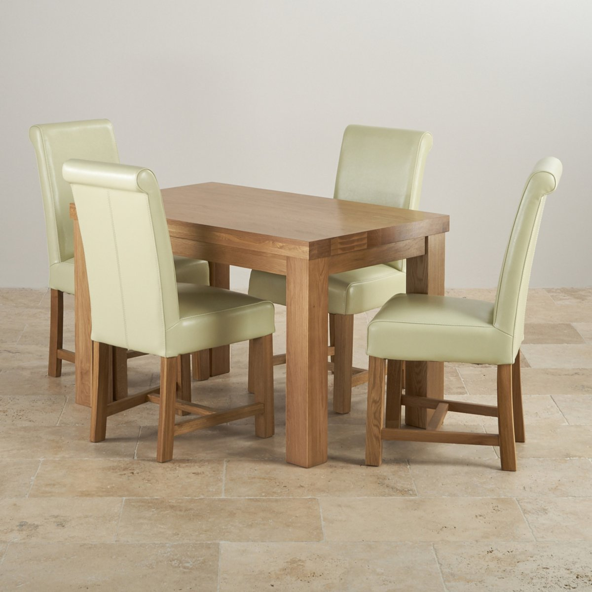 Set Of 4 Country Cream Dining Chairs: Fresco 4ft Solid Oak Dining Table 4 Cream Leather Braced