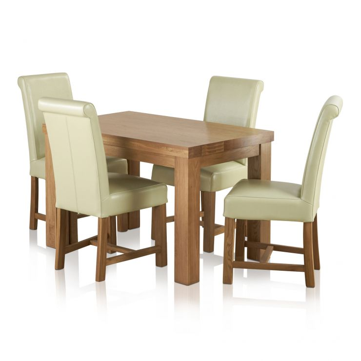 Provence Natural Solid Oak Dining Set: Fresco 4ft Solid Oak Dining Table 4 Cream Leather Braced
