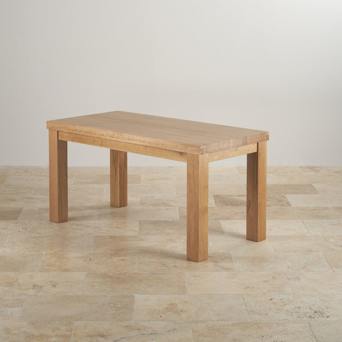 Fresco 6ft Solid Oak Dining Table 6 Cream Leather Braced