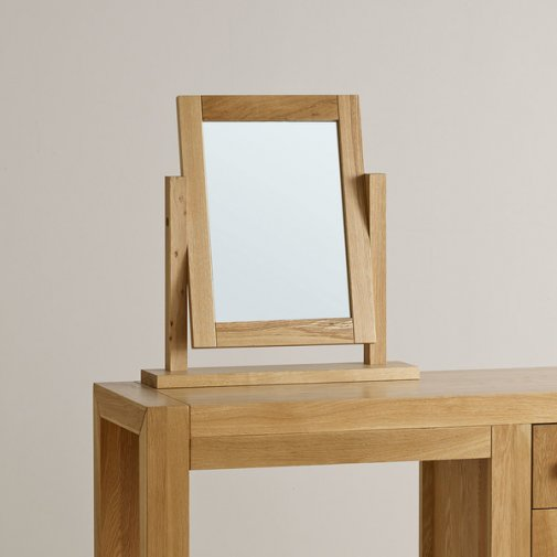 Fresco Natural Solid Oak Dressing Table Mirror