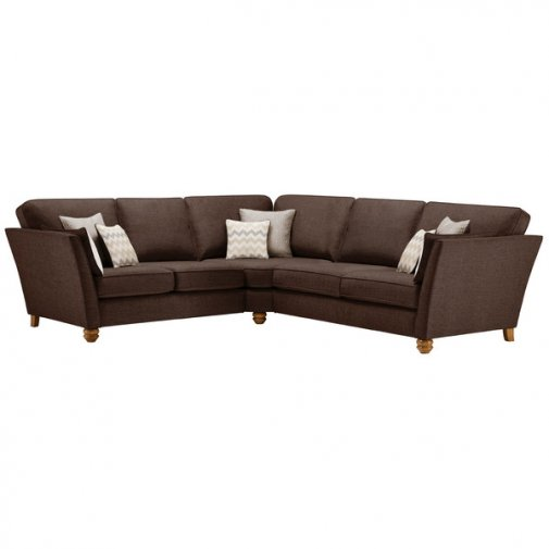 Gainsborough Large Corner Sofa in Brown with Beige Scatters
