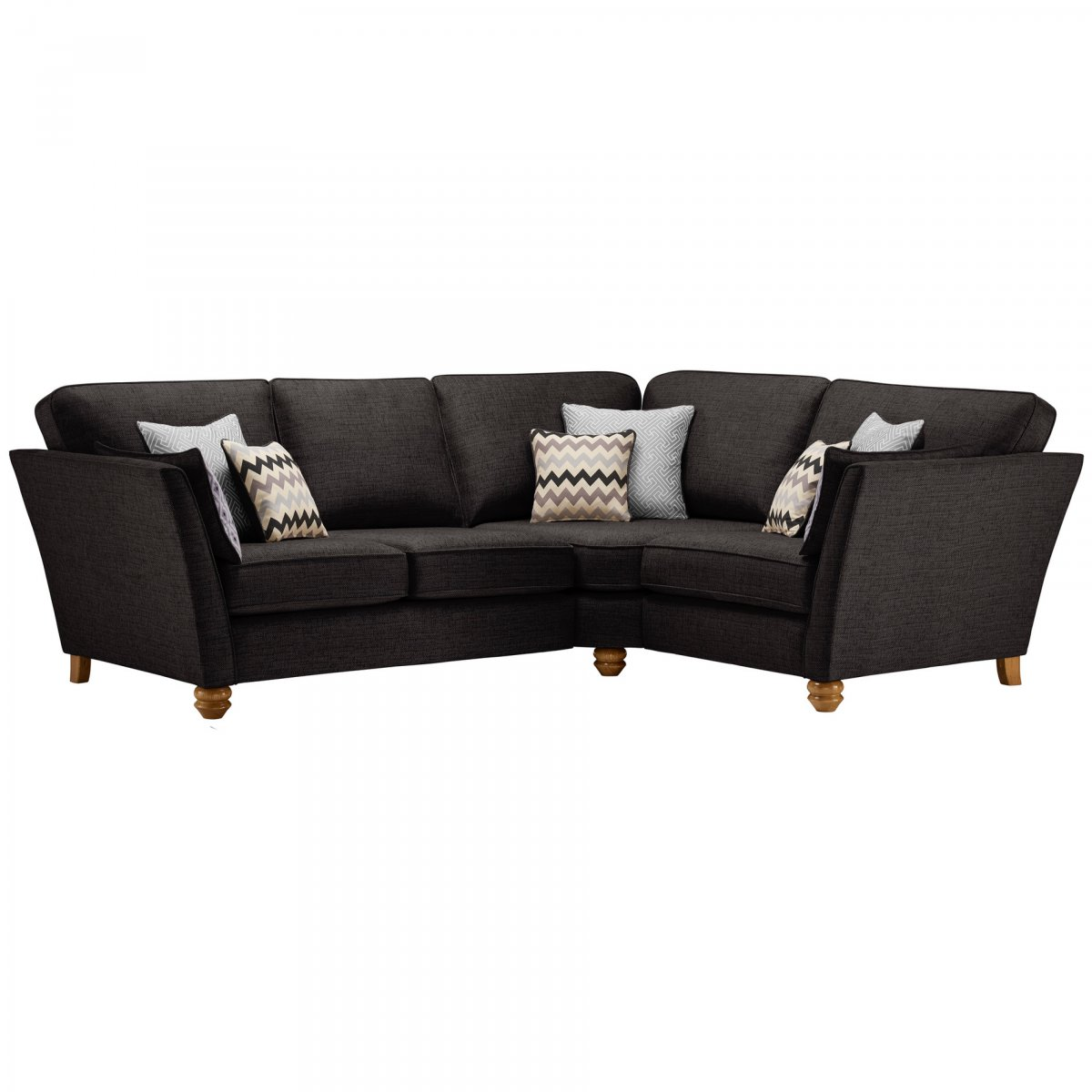 Gainsborough Left Hand Corner Sofa In Black Silver Scatters