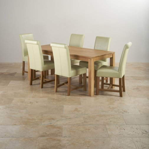 Galway Natural Solid Oak Dining Set - 6ft Table with 6 Braced Scroll Back Cream Leather Chairs