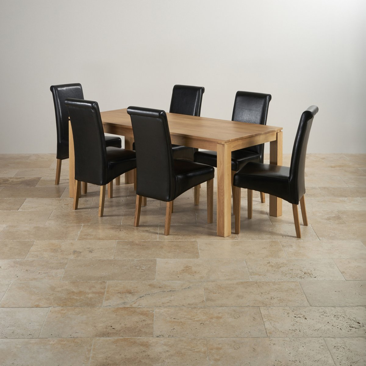 Galway Dining Set In Natural Oak: Dining Table + 6 Leather