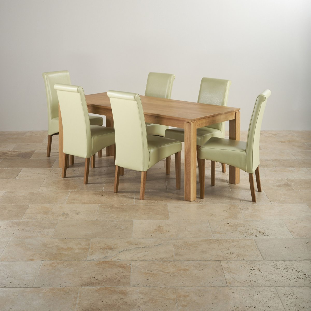 Provence Natural Solid Oak Dining Set: 6ft Table + 6 Cream Leather Chairs