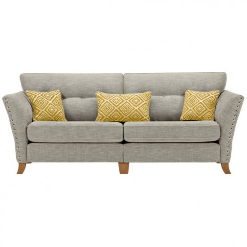 Grosvenor 4 Seater Sofa in Silver with Yellow Scatters