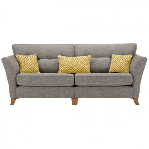 Grosvenor Traditional 4 Seater Sofa in Grey with Yellow Scatters