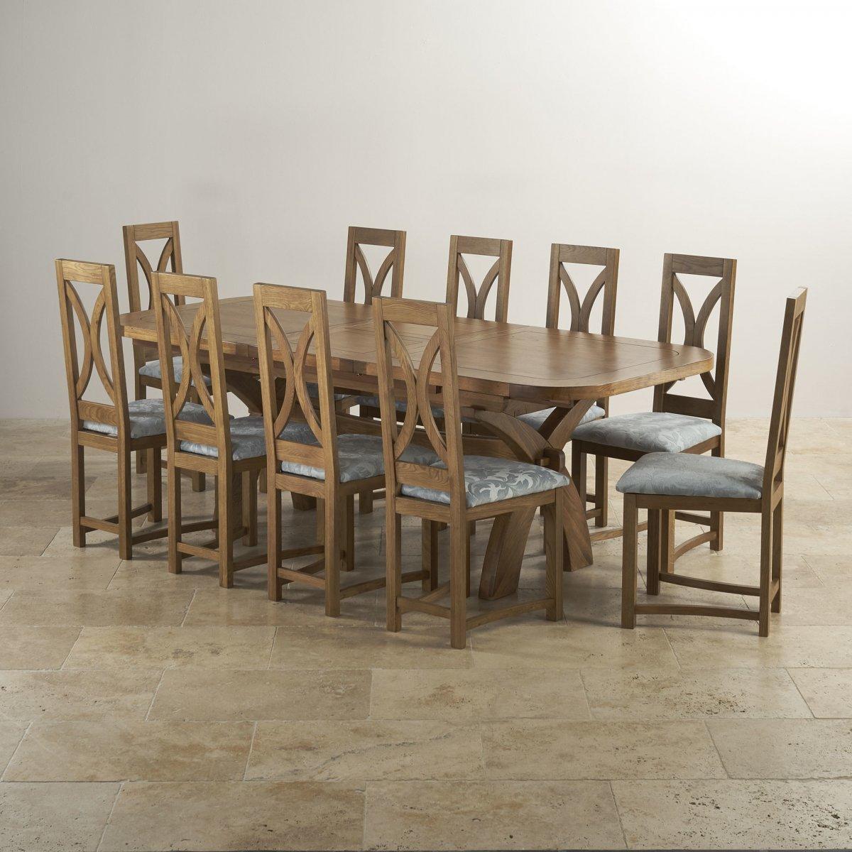 Hercules Dining Table Set | Rustic Oak | 10 Loop Back Chairs