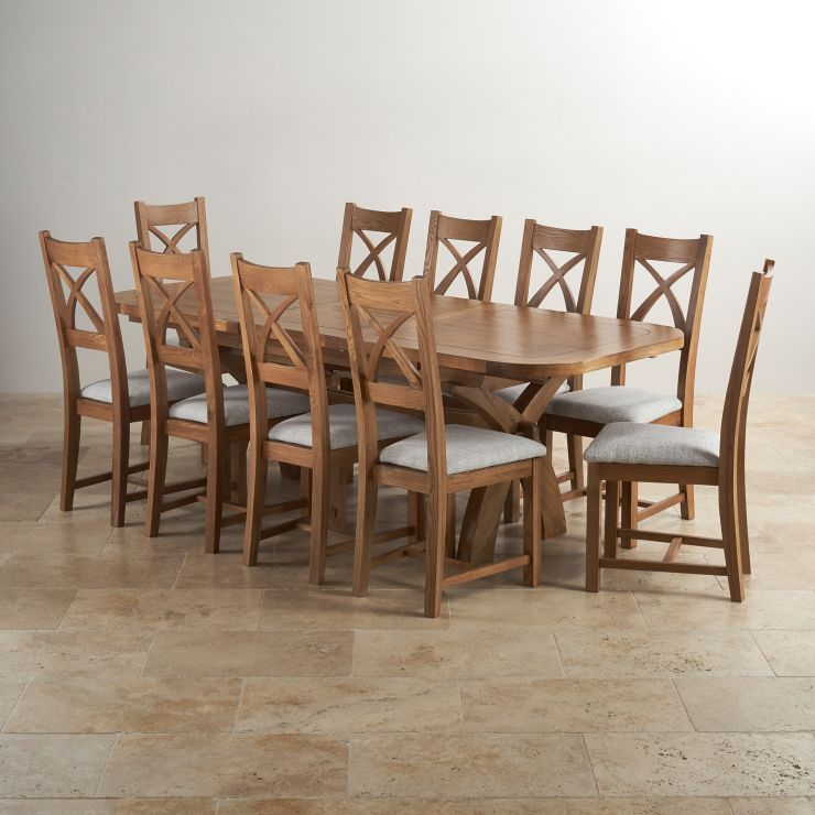 Hercules Dining Set In Rustic Oak Extending Table 10 Chairs