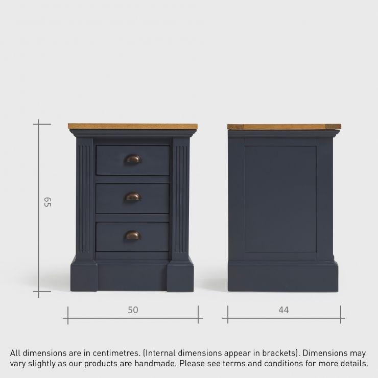 Highgate Blue 3 Drawer Bedside Cabinet Oak Furnitureland