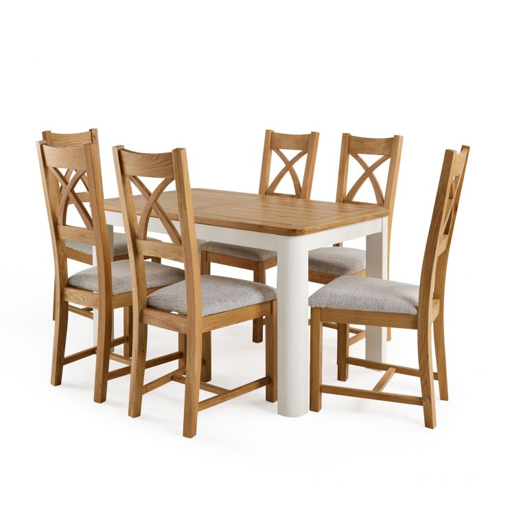 Hove White Extendable Table And 6 Cross Back Chairs I Oak Furnitureland